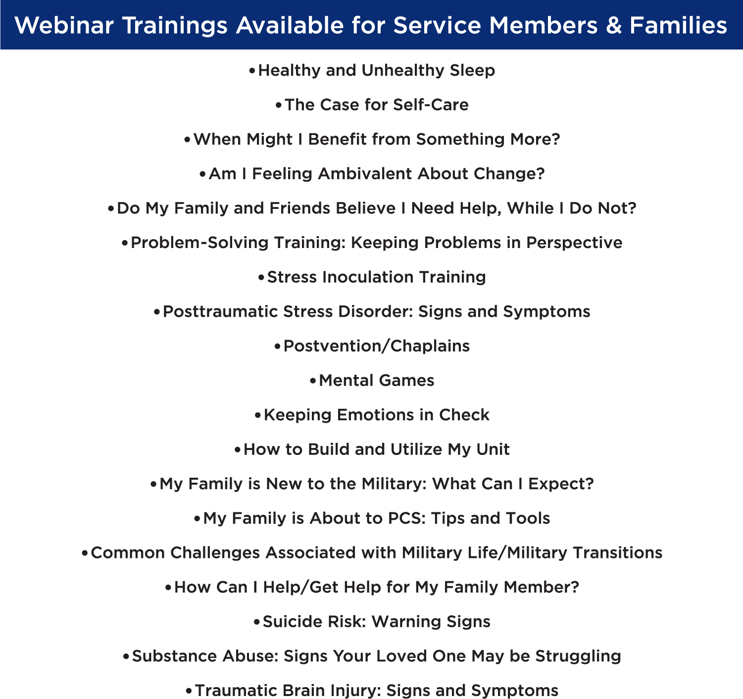 Webinar Trainings for Service members & Families